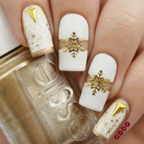 Christmas Nail Art Stickers Decals Gold Snowflakes Stars Gel Polish