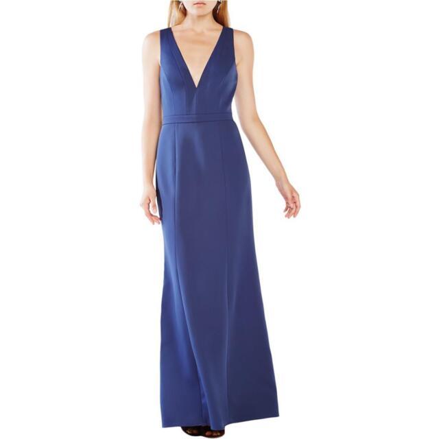 BCBG Max Azria \'riva\' Navy Blue Satin V Veck Cutout Back Formal Gown ...