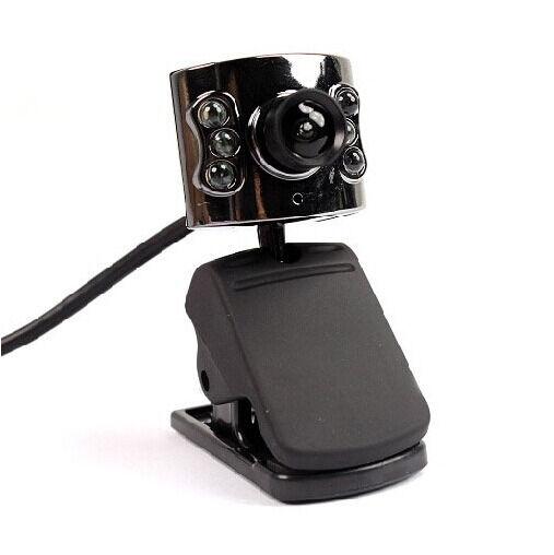 Black Practical 20.0M Pixels USB 6 LED Camera Webcam + Mic for PC Laptop