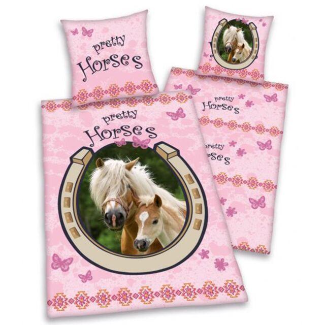 PRETTY HORSES PINK SINGLE DUVET COVER SET HORSE & FOAL CHILDRENS BEDDING NEW