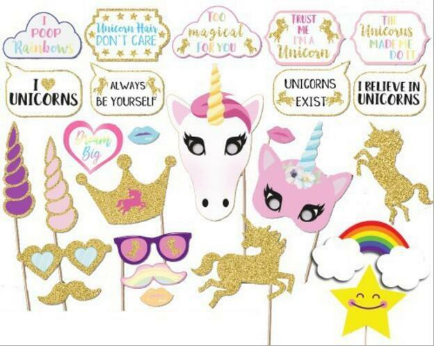 26PCS Glitter Unicorn Photo Booth Props Girl Birthday Party Supplies Decorations