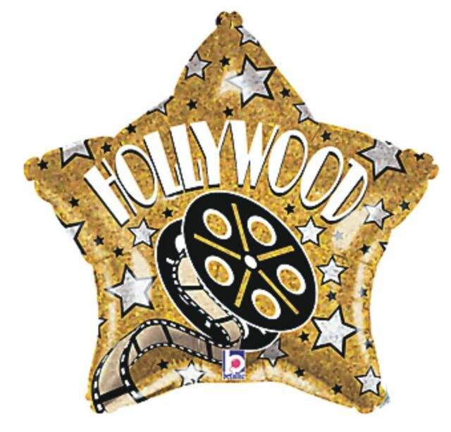 """HOLLYWOOD MOVIE NIGHT PARTY BLACK GOLD VIP DECORATION 18"""" FOIL HELIUM BALLOON"""