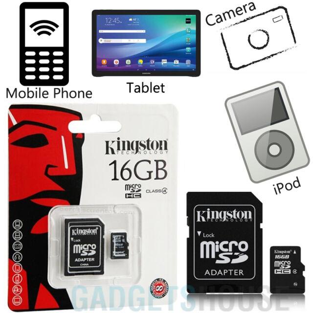 Kingston MARCA CLASE 4 MICRO SD 16GB SDHC TF tarjeta y adaptador ALTA VELOCIDAD