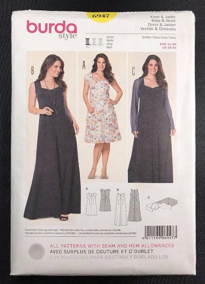6947 Burda Dress & Jacket Sewing Pattern Sizes 18-34   eBay