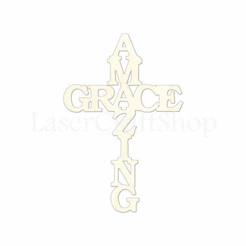 Tags Amazing Grace Cross Wooden Cutout Shape, Ornaments Laser Cut #1723