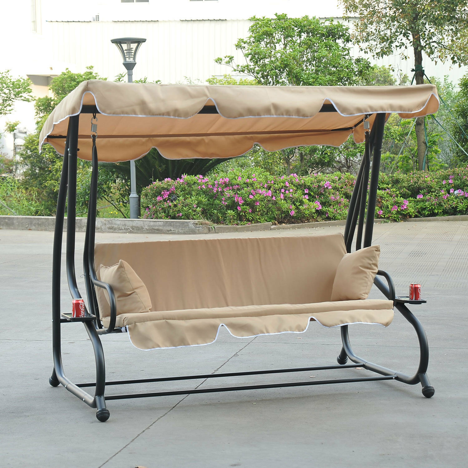 3 person Porch Swing Bed Canopy Cup Holders Hammock Patio Lawn
