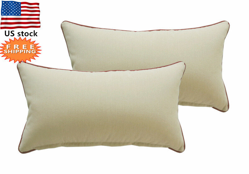 Bossima Outdoor Patio Decorative Rectangle Throw Toss Pillows Khaki