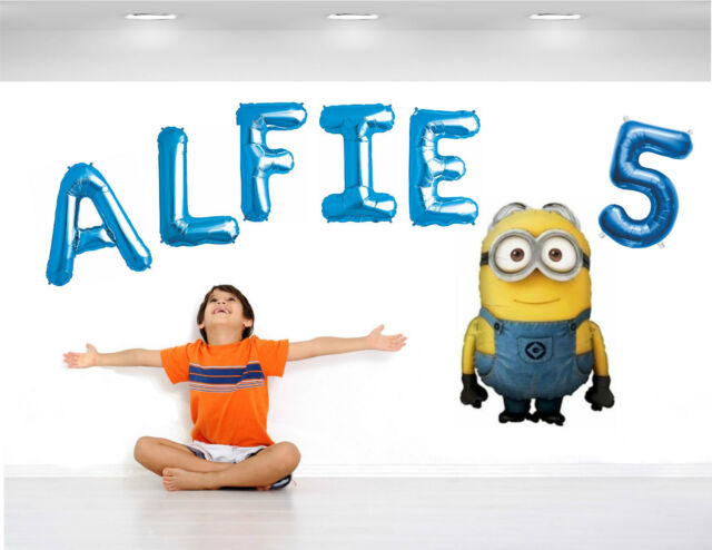 Personalised Boys Birthday Balloon Banner Wall Display Any Name Age + Characters