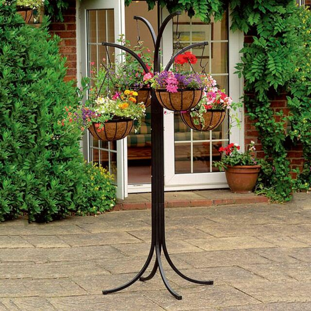 4 Arm Tree Cascade Hanging Basket Patio Stand Garden Plant Patio Planter New