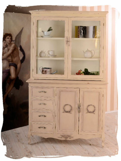 vintage buffetschrank anrichte vitrinenschrank shabby chic k chenbuffet vitrine ebay. Black Bedroom Furniture Sets. Home Design Ideas