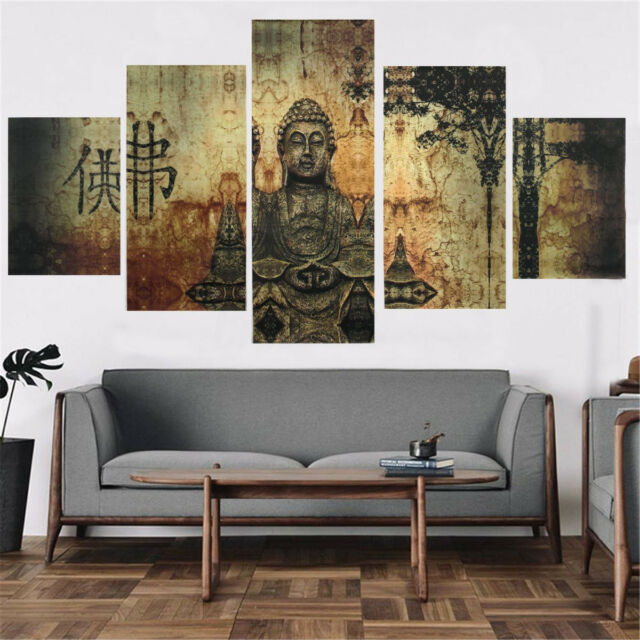 Huge buddha abstract canvas art oil painting print home wall decor set unframe