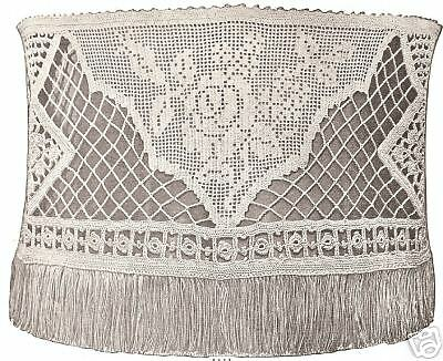 Vintage Antique Crochet Pattern To Make Filet Rose Victorian Lamp