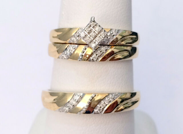 10k yellow gold his her mens woman diamonds wedding ring bands trio bridal set - Wedding Ring Bands For Her