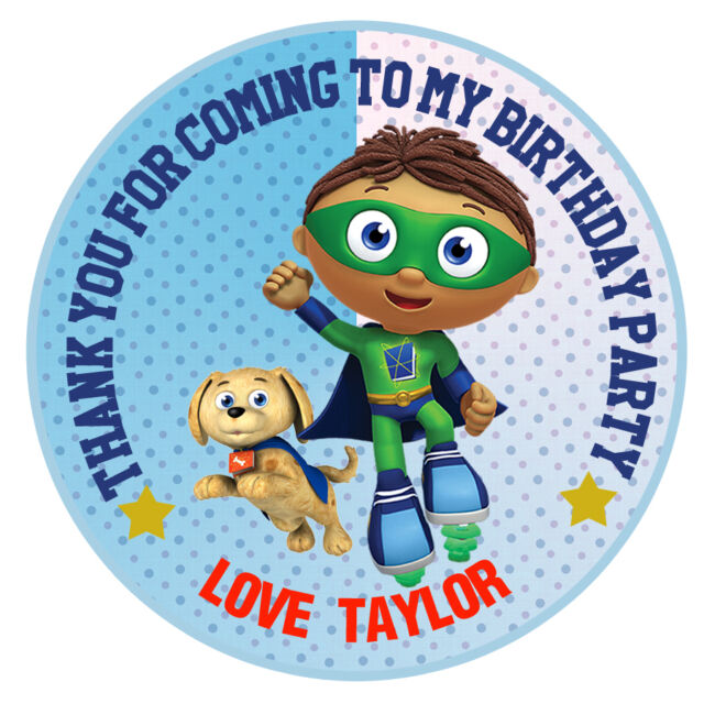 30 x personalised super why round 50mm 2 party stickers thank you labels