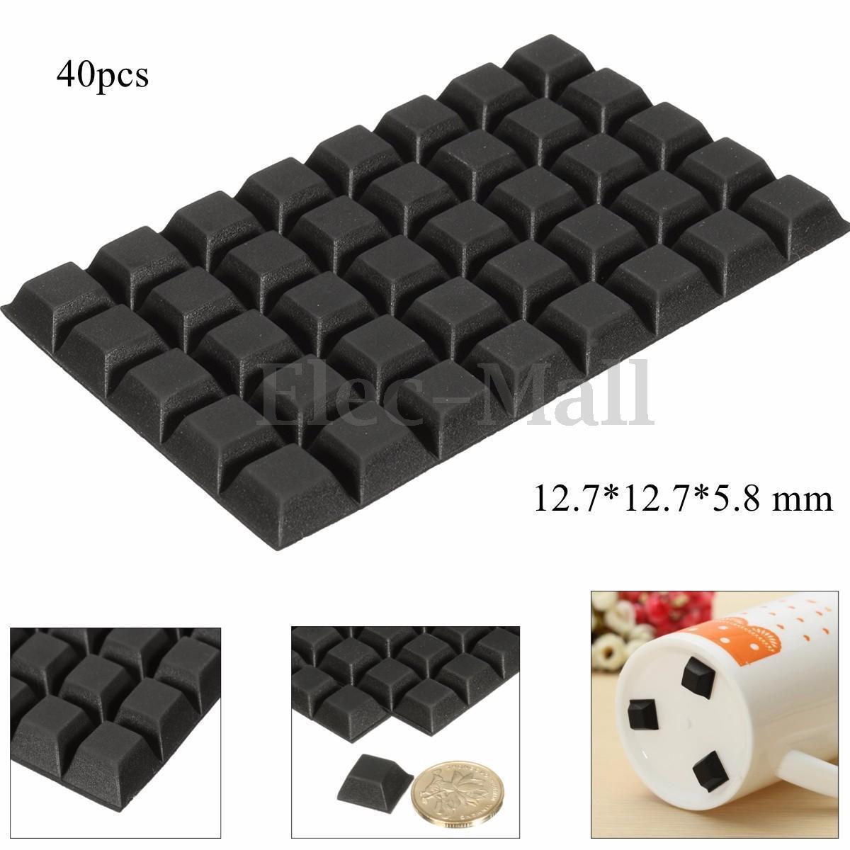 40pcs Self Adhesive Rubber Feet Bumper Door Furniture Buffer Pad Non Slip  Black | EBay
