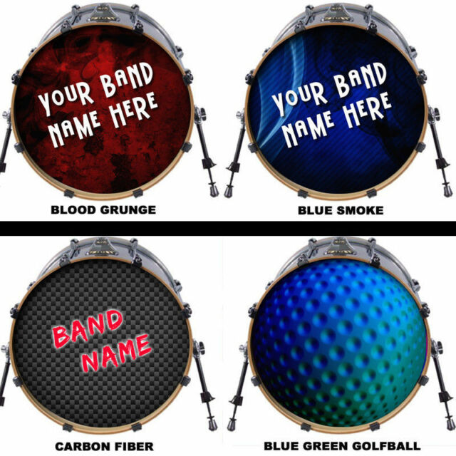 Custom 20 bass drum head decal skin wrap kick sticker vinyl double free design