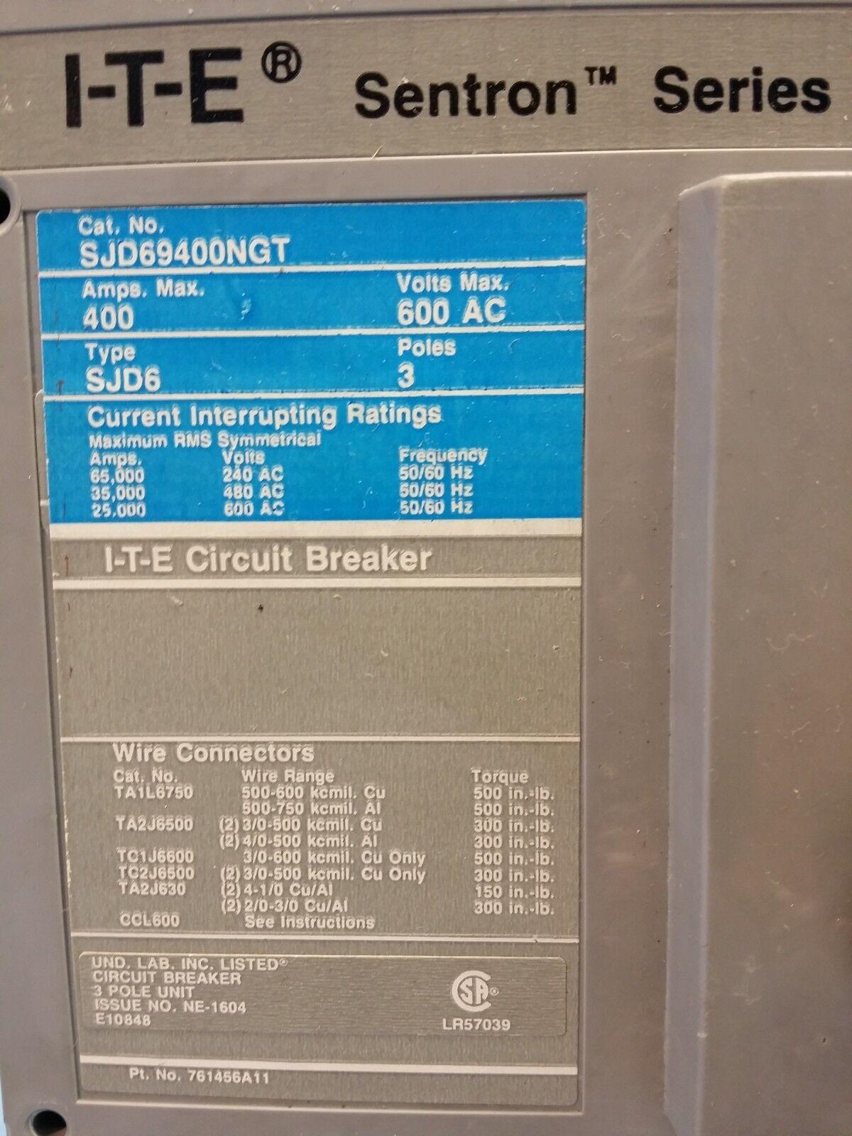 ITE Siemens SJD69400NGT 400 Amp Sentron Series Breaker 400a Trip ...