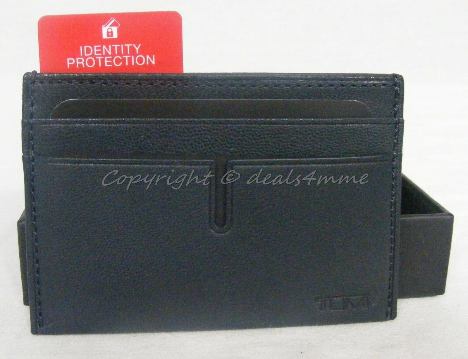 Tumi Chambers Slim Leather ID Card Case RFID Chip 012659NVY Navy | eBay