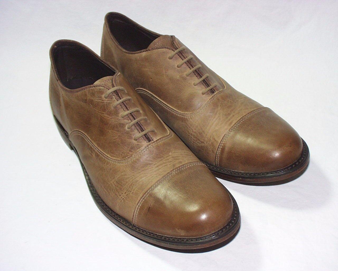 Vintage Shoe Company Barron Cap Toe Oxfords Distressed Leather Upper Tan New
