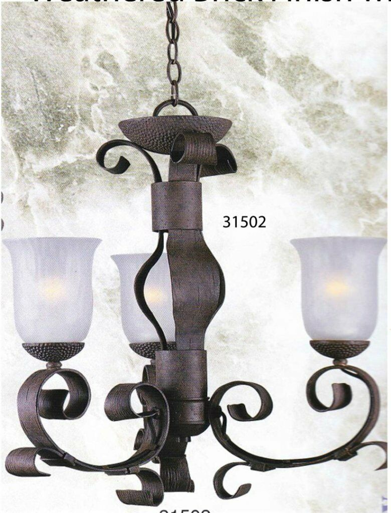 Triarch lighting 31502 3 lt weathered brick hand blown glass picture 1 of 3 arubaitofo Gallery