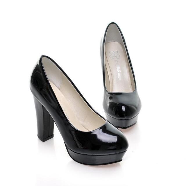 d9c7eec01994 Women Party Prom Platform High Heel PU Patent Leather Wedding ...