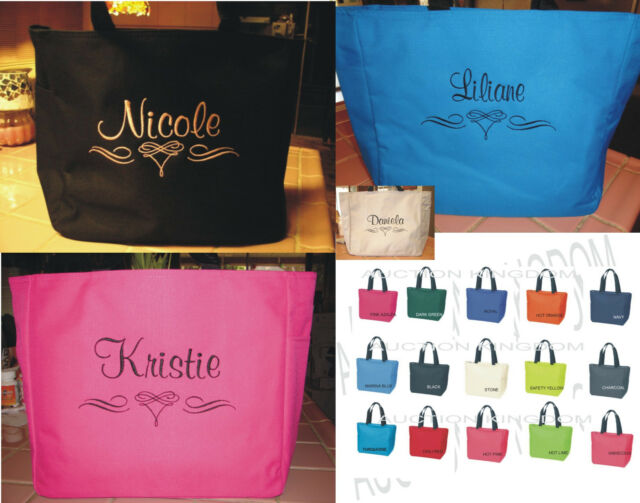 6 wedding tote bag personalized bridesmaid scroll bridal zipper gift