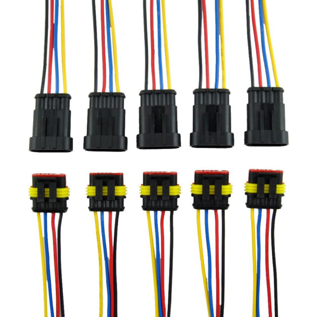 Muyi 5 Kit 4 Pin Way 1814 AWG Waterproof Connector Wire Harness Ip67 ...