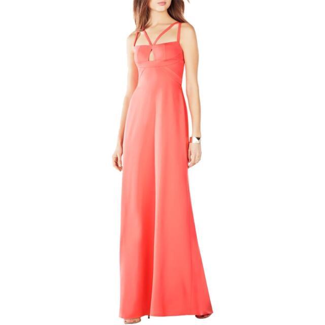 BCBG Max Azria Womens Orange Strappy Evening Dress Gown 0   eBay