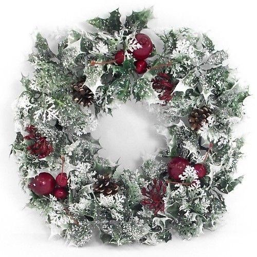 40cm plastic holly poinsettia christmas wreath for 5ft poinsettia garland christmas decoration