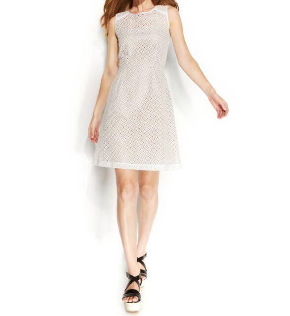 Calvin Klein 5882 Womens White Eyelet Pleated Cocktail Dress Petites ...