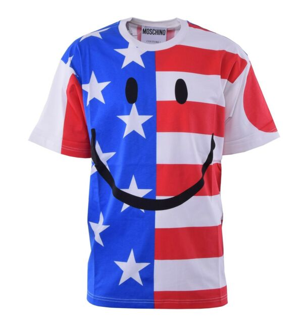 444629135 MOSCHINO COUTURE Smiley T-Shirt with UK USA Italy Japan Flags Print Cotton  04461