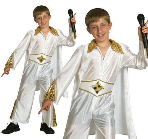 Childrens Elvis Presley Fancy Dress Costime Rock Star The King Kids Outfit M  sc 1 st  eBay & Childrens Pop Star Fancy Dress Costume ELVS Presley Michael Jackson ...