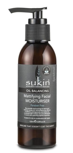 Sukin Oil Balancing MATTIFYING Facial MOISTURISER Rice Powder & Moringa 125ml