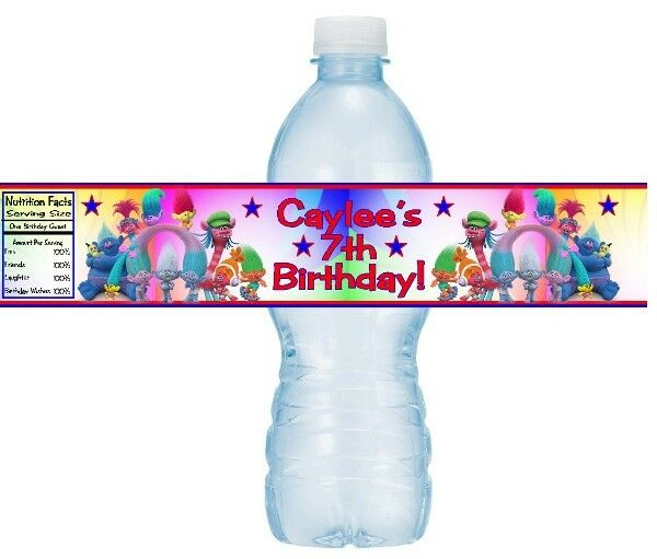 12 Trolls Birthday Party Or Baby Shower Water Bottle Stickers Labels