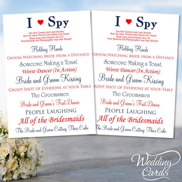 2 x wedding i spy game camera kids table activity favour cards ebay