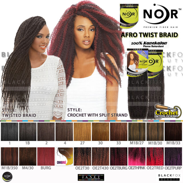Janet Collection Noir Afro Twist Braid 100 Kanekalon Synthetic Marley Braiding