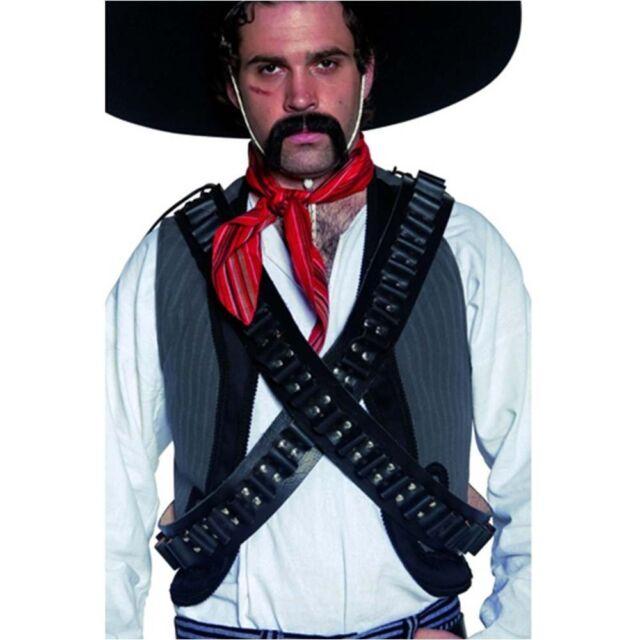 Mens Black Authentic Western Bandolier Bullet Belt Fancy Dress Cowboy Mexican Wi