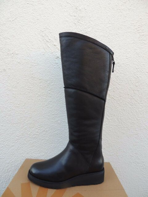UGG KENDI BLACK LEATHER/ SHEEPSKIN KNEE HIGH WEDGE BOOTS, US 6/ EUR 37
