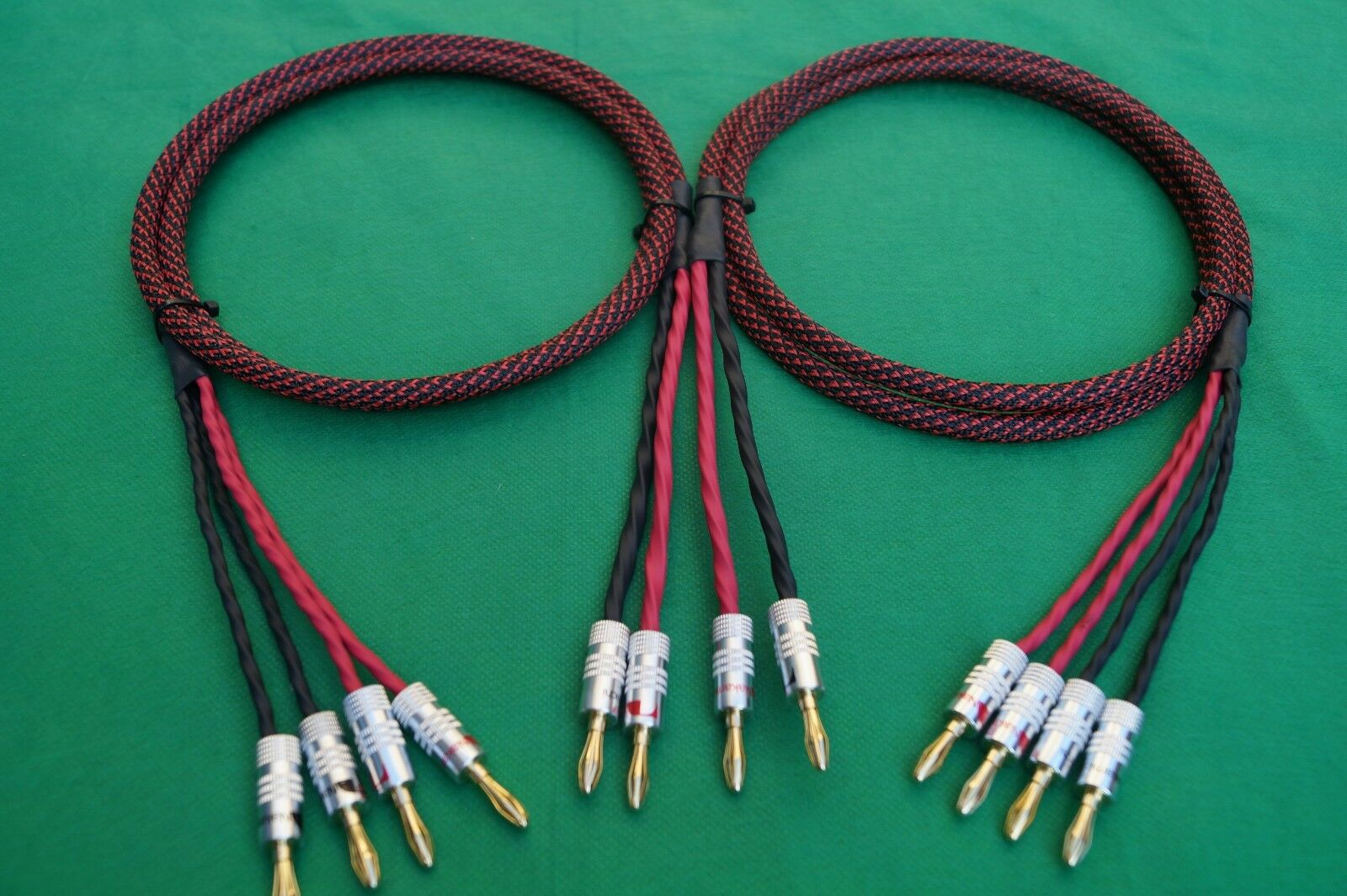 Elite Pure Copper BiWire Speaker Cable 1 Pair 2 to 4 Banana 5 Ft ...