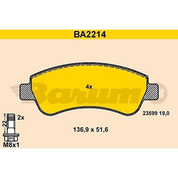 ORIGINAL BARUM BA2214 Bremsbelag Satz vorne Citroen Peugeot