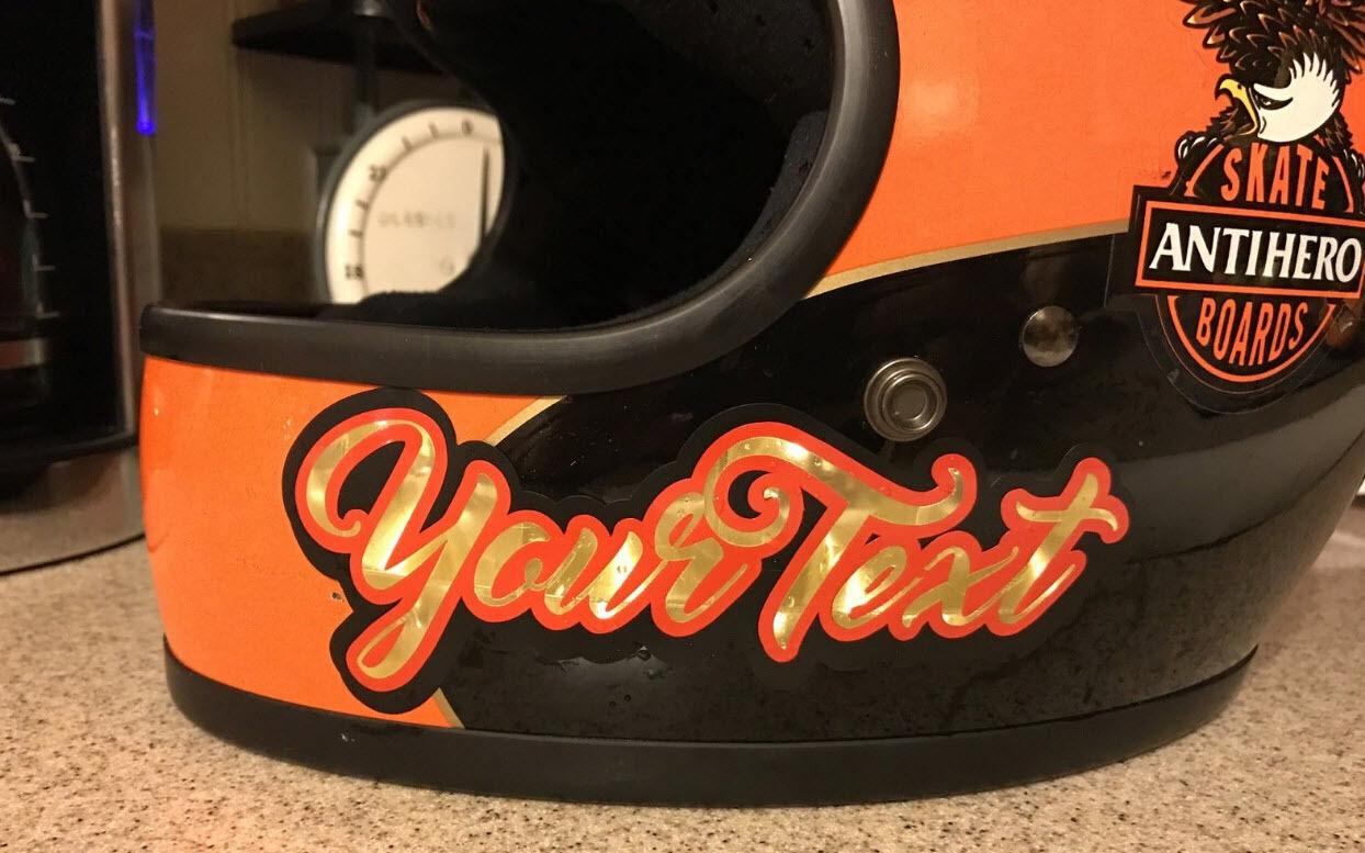 Custom Text Decals Golf Leaf Chopper Harley Davidson Sticker - Custom motorcycle helmet stickers custom