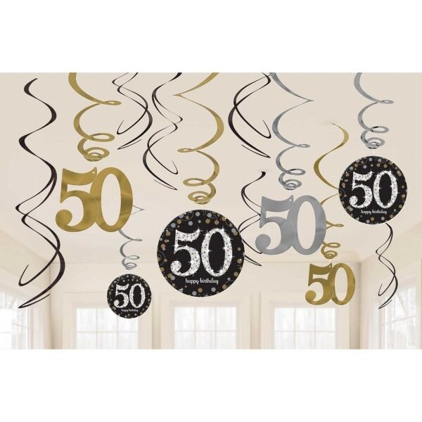 50th Birthday Hanging Party Swirls Black Silver Gold Decorations eBay