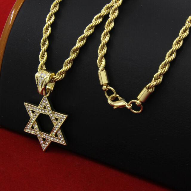 Mens 14k gold plated hip hop star of david pendant 30 rope chain mens 14k gold plated hip hop star of david pendant 30 rope chain necklace aloadofball Images