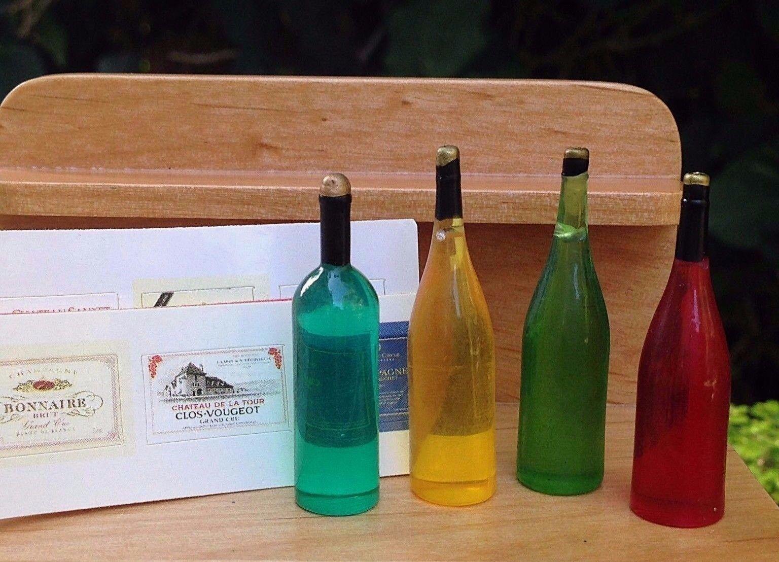 Miniature Dollhouse Fairy Garden Accessories 4 Wine Bottles W ...