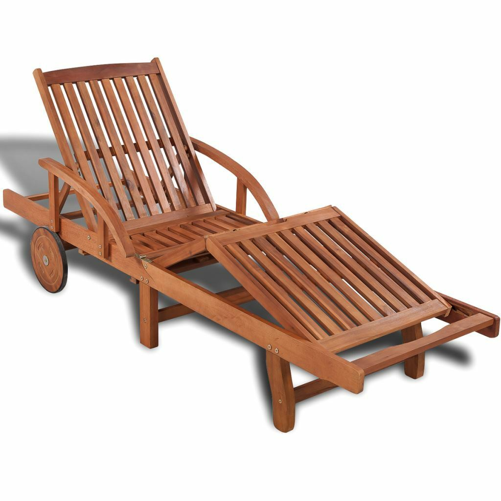 Picture 1 of 1  sc 1 st  eBay & Garden Patio Chaise Lounger Sun Bed Chair Wooden Folding Reclining ... islam-shia.org