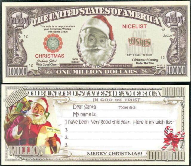 Santa Wish List Christmas Novelty Million Dollar - Bills | eBay