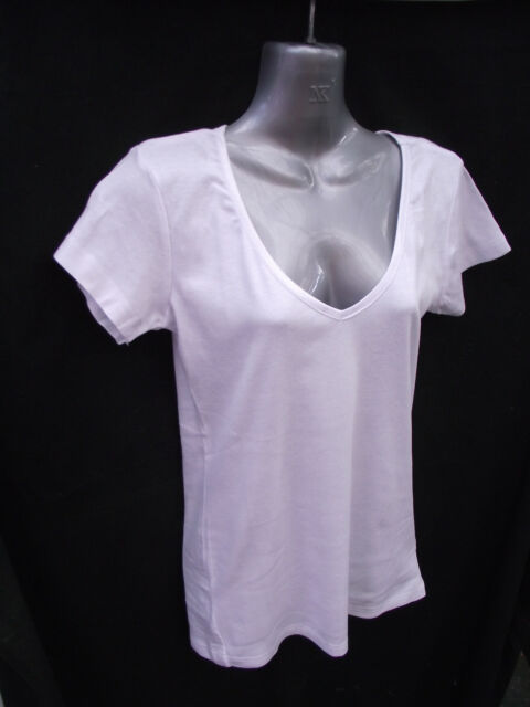 BNWT Ladies Sz 10 Rivers Brand White Short Sleeve V Neck Trim Fit T Shirt Top