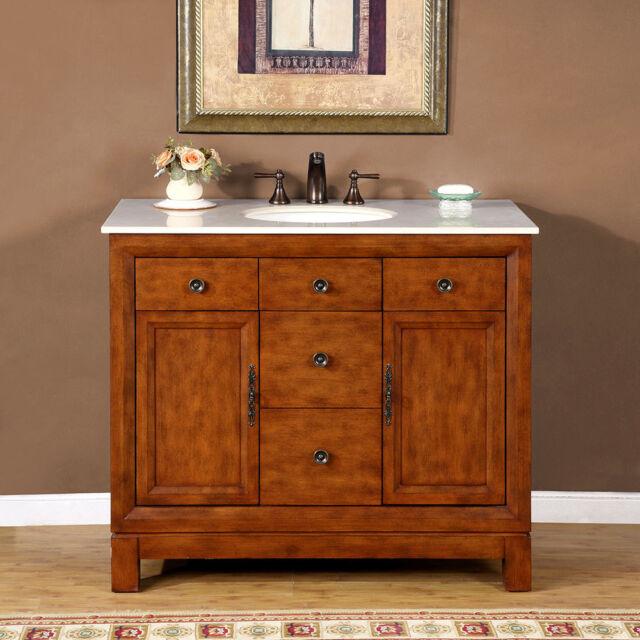 42 Inch Single Sink Bathroom Vanity Cabinet Marble Top Bath Furniture 0911cm