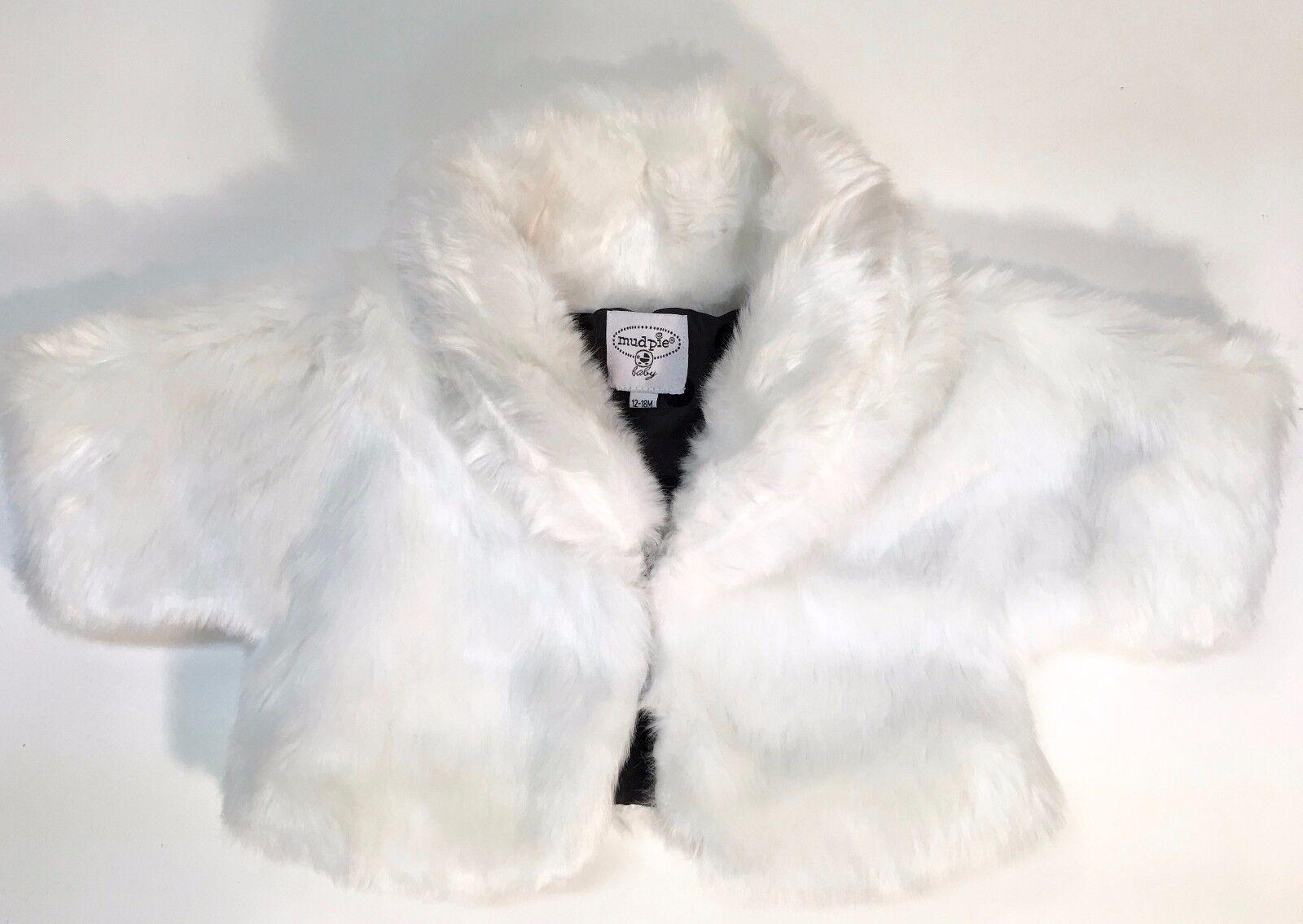 Mudpie Baby Girl Infant Jacket White Faux Fur Coat 12-18 Months | eBay