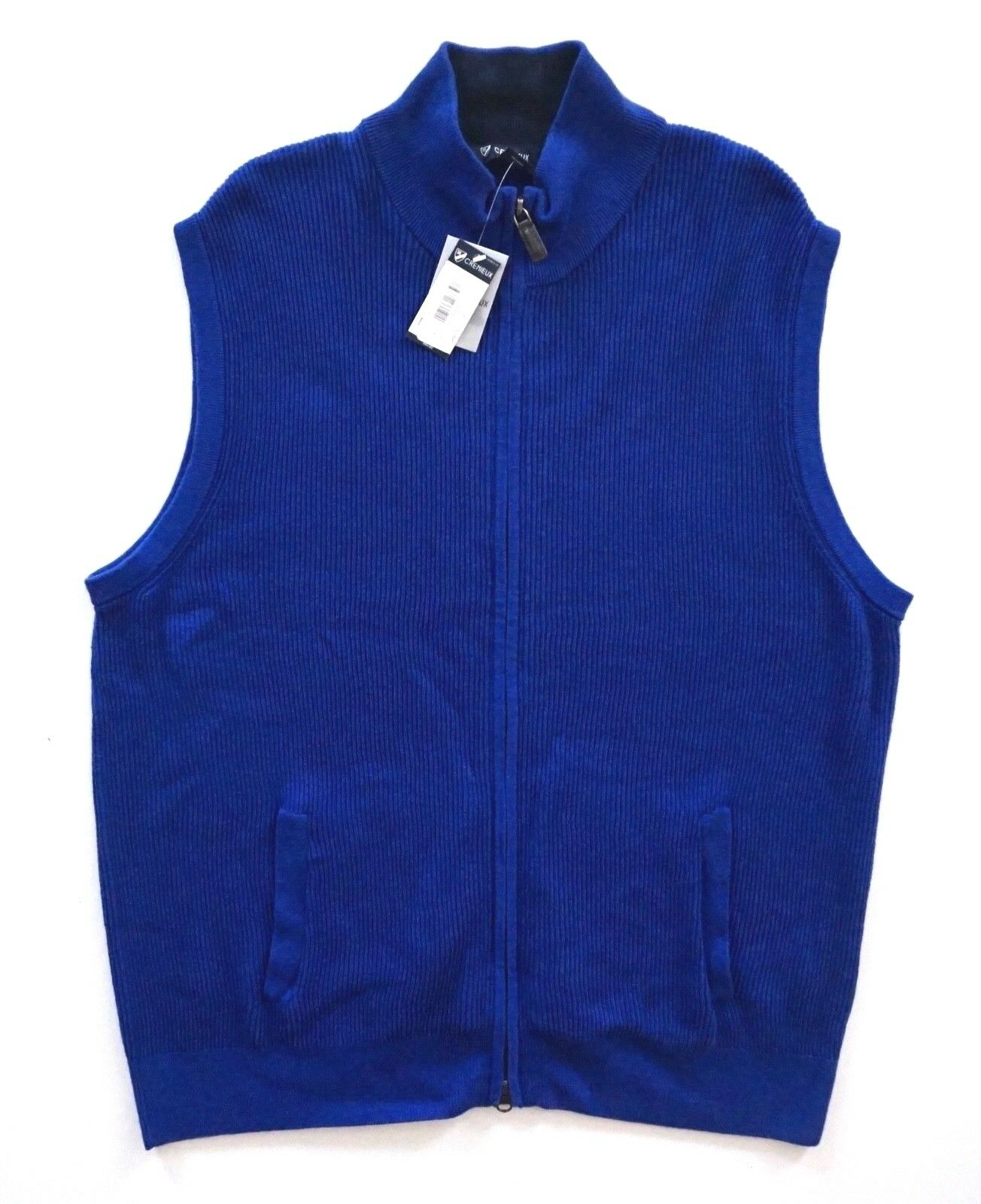 Daniel Cremieux Madison Blue Ribbed Cotton Full Zip Sweater Vest ...